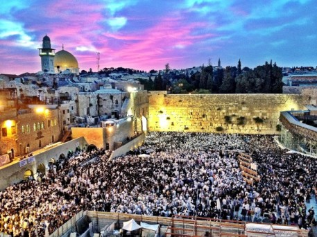 The crowds gather in Jerusalem for Shavuot. (view 2)